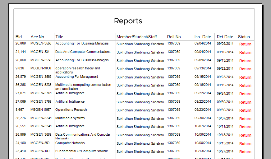 Managing software reports